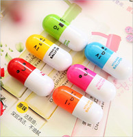 Wholesale pill ball point pens resale online - Shipping Pencils Vitamin Ball Smiling Capsule Point Telescopic Pen Free For Cute School Ballpen Pill Face Specials cpaqg bdetoys