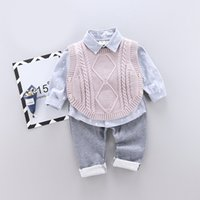 Wholesale baby pant bear resale online - Bear Leader New Baby Boy Casual Clothing Set Knitted Vest Print Long Sleeve Shirt Solid Pant Kids Boys Autumn Suits