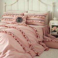Wholesale pink ruffle full bedding set resale online - Korean pure cotton solid color pink bedding set full queen size ruffles flounce princess bed skirt YW