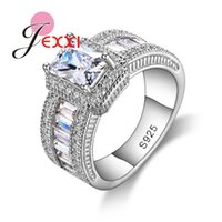 Wholesale wedding ring set prices resale online - Fashion Sterling Silver Rings for Women Wedding Engagement Female Ring Femme Party Jewelry Price Hot Sale