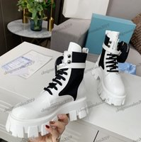 Wholesale combat boots womens resale online - Womens Martin Boots Brushed Rois Real Leather Nylon Military Combat Boot Ladies Thick Bottom Motorcycle Boots Removable Keycase Casual Shoes