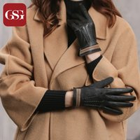 Wholesale men s brown leather gloves resale online - GSG Fashion Winter Womens Genuine Leather Gloves Lambskin Leather Driving Gloves Black Brown