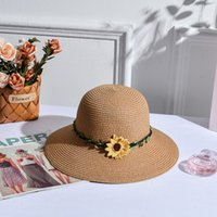 Wholesale pink hand knitted hat for sale - Group buy New Hand Made Daisy decoration Women Knitted hat Joker Sandy Beach Hat Will Along Straw Outdoors Tourism Sun