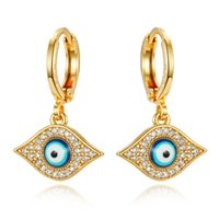 crystal turkey 2021 - 1Pair Micro-inlay Zircon Turkish Evil Eye Hoop Earrings For Women Glitter Gold Color Crystal Circle Small Earring Turkey Jewelry