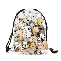 Wholesale cute backpack for men resale online - Customize Cute Cartoon Kitten Puppy Printing Drawstring Bags with Double Sides for Woman Man School Travel Use String Backpack
