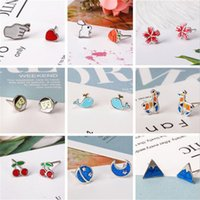 Wholesale jewery resale online - New Temperament Sterling Silver Jewery Fashion Colorful Epoxy Beautiful A Variety of Styles Stud Earrings Animal Plant Bow