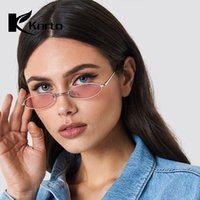 Wholesale 90s oval sunglasses resale online - 90S Hippie Vintage Sunglasses for Women Festival Rave Party Sun Glasses Ladies S S Eyeglasses Small Oval Red Pink Eyeglasses