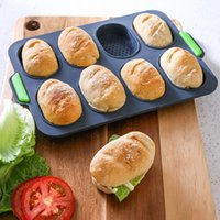 Wholesale french bread for sale - Group buy 8 Grids DIY Silicone Hamburger Good Flexibility Practical French Heat Resistant Non Stick Home Baking Bread Mold Easy Release