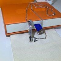Wholesale titanium pendants for couples resale online - High Quality Titanium Steel Whistle Pendant Necklace High Quality Diamond Necklace Fashion Metal Chain Necklace Finger for Couple