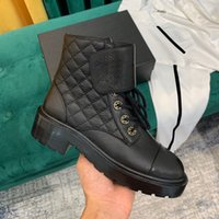 Wholesale high heel cowboy boots women resale online - 20ss Rhombic Chain Designer Genuine Leather Womens Boots Luxury Splicing Middle Heel High Quality Short CM Heel Ankle Boots Box Size