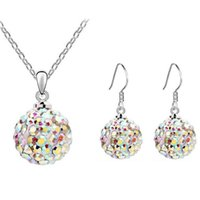 Wholesale disco ball pendant set resale online - 2020 Fashion Disco Ball Necklace Earrings Set Women Sweet Round Pendant Korean Earrings For Ladies Jewelry Gift Set kolczyki