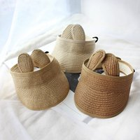 Wholesale linen sets baby girl resale online - 2021 new Summer Baby Boy Girl Folding Bunny Straw Visor Adjustable Sun Hat beach Cotton Toddler Kids Cap Princess M9M