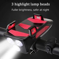 Wholesale bicycle bike phone holder resale online - Multi function in Bicycle Light USB Rechargeable LED Bike Headlight Bike Horn Phone Holder Powerbank Cycling Light