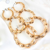 celebrity earrings 2021 - Statement Sliver Gold Color Big Bamboo Circle Hoop Earrings For Women Hip Hop Large Celebrity Basketball Wives Earrings Hoops