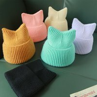 Wholesale meow beanies for sale - Group buy Casual Knitted Hat for Women Winter Hat Cute Meow Kitty Woman Warm Wool Cap Handmade Knit Cap Beanie Black Yellow Beige Pink