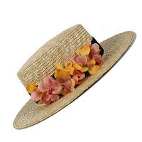 Wholesale yellow flower hat resale online - Nature Wheat Straw Women Summer Sun Hat Lady Beach Wide Brim Flat Boater Hat With Handmade Yellow Flower Size CM