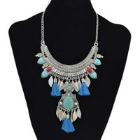 Wholesale gypsy vintage necklaces for sale - Group buy Gypsy Boho Long Tassel Rhinestone Necklace Collar Choker Ethnic Vintage Leaf Moon Bib Maxi Statement Necklace For Women Jewelry