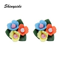 Wholesale jewery resale online - new fashion jewery elegant Colorful Ceramics flowers stud earrings for women as gift