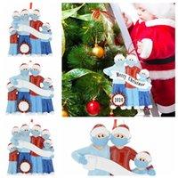 Wholesale christmas greetings resale online - 2020 Christmas Ornament Quarantine Greeting With Mask Family Christmas DIY Xmas Tree Santa Hanging Pendants Party Decoration LJJP544