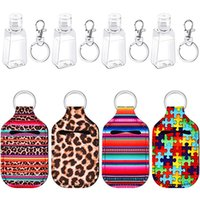 Wholesale food covering plastic resale online - 30ml Hand Sanitizer Bottle Holder King Ring Portable Neoprene Cover with classic printing three piece suit Hot sale GWF2409