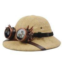 Wholesale miner caps resale online - Novelty Straw Steampunk Helmet Pith Sun Hat Women Men Vietnam War Army Hat Steam Punk Glasses Safari Jungle Miners Cap CM