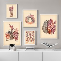 Wholesale skull art pictures resale online - Vintage Lung Skull Spine Human Anatomy Medicine Wall Art Canvas Painting Nordic Posters And Prints Wall Pictures For Living Room