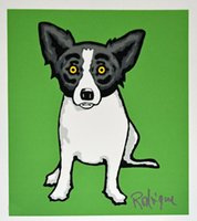 Wholesale green living pictures resale online - George Rodrigue Blue Dog Little Bitty Blue Green Home Decoration Oil Painting On Canvas Wall Art Canvas Pictures For Living Room
