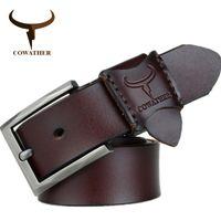 Wholesale big size belts for men for sale - Group buy COWATHER hot sale jeans men belt cow genuine leather belts for men new arrival good quality male strap CM big size