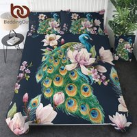 Wholesale peacock bedding for sale - Group buy BeddingOutlet Peacock Bird Bedding Set Blooming Sakura Flower Duvet Cover Watercolor Home Textiles Pink Magnolia Bedclothes