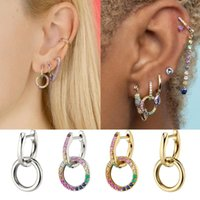 Wholesale new design small earrings resale online - New Design Rainbow CZ Zircon Double Circle Earrings for Women Elegant Small Round Hoop Earrings Female Huggie Jewelry Gift