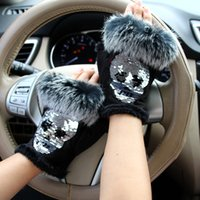 Wholesale fashion magic gloves for sale - Group buy Magic Fashion Winter Gloves Women Skull silvery Sequins Fur Gloves winter Suede half finger Mittens Female