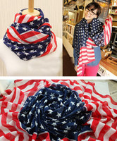 cachecóis vintage chiffon venda por atacado-Vintage USA American Flag Scarf 150*70cm Patriotic Stars and Stripes US flag Scarves Men Women Pentagram Chiffon Scarf GGA3719