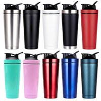 Wholesale shaking bottle resale online - Outdoor Sport Shake Bottle ml ml Vacuum Flask Double Wall Insulated Sport Protein Metal Shake Thermos