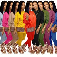Wholesale sell prints for sale - Group buy Women Tracksuit Two Pieces Set Casual Long Sleeve Leggings Outfits Solid Color Ladies New Fashion Loose T Shirt Jogging Clothing Hot Selling
