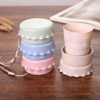 Wholesale retractable water bottle resale online - Retractable Folding Travel Portable Water Coffee Cup Eco Biodegradable Wheat Straw Fiber Drinking Juice Milky Office Cup Tumbler