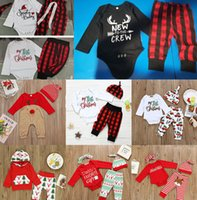 Wholesale elk baby clothes for sale - Group buy 11 Styles Christmas Baby Clothing sets Infants Xmas Outfits Santa Claus Elk Print Clothes Plaid Pants Hat Set Toddler Boy Girls Suits M2266