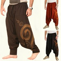 Wholesale yoga men for sale - Group buy Vintage Men Pants Harem Elastic Casual Baggy Yoga Harem Pants Hip hop Men Gypsy Cotton Linen Wide legged Loose Pants Drawstring M XXXL