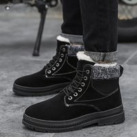 Wholesale plush adult shoes resale online - Men s Winter Snow Shoes High Top Boots Ankle Lace Up Plush Warm Soft Sneakers Man Footwear Male Krasovki Adult Sapato Zapatillas