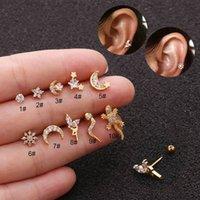 Wholesale ear piercing studs star for sale - Group buy KOMi pc Stainless Steel Thin Small Stud Earrings for Women Zircon Geometric Moon Flower Stars Piercing Ear Stud Brinco K3781