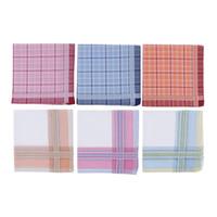 Wholesale mens handkerchiefs cotton for sale - Group buy 6pcs Classic Plaids Pocket Hanky Comfy Soft Wedding Hankie Mens Handkerchiefs Boy Cotton Thin vintage style Hankie