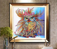 Wholesale owl drawing resale online - 5D Full Square Diamond Painting CM Embroidery Cross Stitch Animals Colorful Owl D DIY Drill Drawing Mosaic