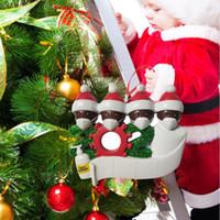 Wholesale flat christmas ornaments resale online - Flat print DIY Name Blessings Snowman Christmas Tree Hanging Pendant PVC Spot Mask New Christmas Decorations Santa Claus Ornament white man