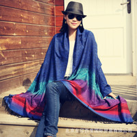 Wholesale winter shawls india resale online - Oversized Scarf Women s Autumn and Winter India Nepal Thailand Ethnic Style Jacquard Gradient Fashion Travel Shawl