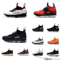 Wholesale lebron 15 resale online - Cheap new Men Kith X Lebron Diamond Turf low tops basketball shoes Bred Black Red White Gold Christmas sneakers boots with box for sale