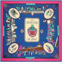 Wholesale paris shawls resale online - Square Scarf New Brand Women Twill Silk Scarf Shawl Strolling In Paris Print Scarf Headband Large Square Scarves Foulard sqcBEw
