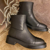 Wholesale h boots resale online - Autumn and winter mid tube short boots leather thick soled Martin boots fashion women s fashion versatile boots black female designer High H
