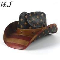straw flags 2021 - Cowboy Hat 100% HandWork Summer Straw Women Men Western Sombrero Hombre Sun Cowboy Caps With American Flag With Good Package1