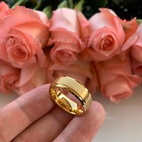 Wholesale gold comfort fit wedding band resale online - 8mm Gold Tungsten Wedding Band Rings for Men Matte Brushed High Tungsten Gold Comfort Fit