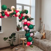 fêtes d'anniversaire à thème achat en gros de-108pcs Decorative Balloons Set Party Balloons Tropical Themed Palm Leaves Decorative Latex Balloons Set Birthday Party Supplies bbyIou