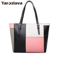 Wholesale color block tote bag resale online - Bags women s handbag fashion brief tote color block casual handbag shoulder bags large women messenge bag LL357